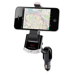Discount lighters bluetooth - Wholesale-Bluetooth Car Kit FM Transmitter Phone Mount Car Holder With Handsfree Calling Cigarette Lighter Charging for