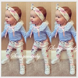 Pant Shirt New Style For Girls Canada - 3Pcs Sets For Baby Girl 2017 New Spring Autumn Girls Long Sleeve Lace T-shirt+Flower Pants+Hairband Kids Clothing Set Children Suits Outfits