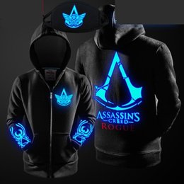 Assassin Creed Veste Coton Pas Cher-2017 casual veste Zip Up veste Assassin's Creed impression animation vêtements lumineux printemps vêtements en coton épais et cardigan