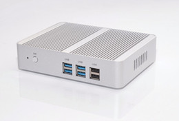 Опт Бесплатная доставка безвентиляторный Intel N3150 Mini PC Celeron Quad Core 1.6 ~ 2.08 ГГц Windows 10 Мини-компьютер Dual HDMI WiFi Dual LAN TV Box