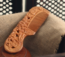 Double Hair Combs Canada - Natural solid wood carving delicate double care massage hair no static wide tine Straight hair peach wooden comb