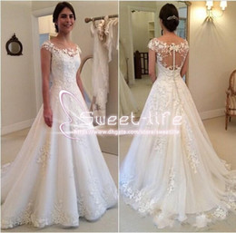 $enCountryForm.capitalKeyWord NZ - Modest 2017 A line Wedding Dresses Bateau Neckline sleeveless Illusion Covered Button Full Lace Appliques Tulle Tiered Skirts Bridal Gowns