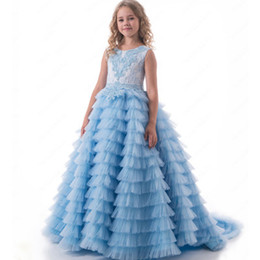 $enCountryForm.capitalKeyWord UK - Sky Blue Luxury Little Girls Pageant Dresses Ball Gown Tiered Puffy Tulle Princess Flower Girl Dresses Kids Prom Evening Gowns