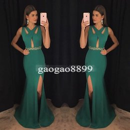 $enCountryForm.capitalKeyWord Canada - Modern Green V-Neck Prom Dresses 2017 Spandex Mermaid Special Occasion Gowns High Split Formal Evening Dress for Party Celebrity Wear