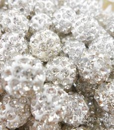$enCountryForm.capitalKeyWord NZ - Best! free shipping 10mm White Clear Micro Pave CZ Disco Ball Crystal Shamballa Bead Bracelet Necklace Beads.SEC Wholesale! Stock!Mixed Lot!