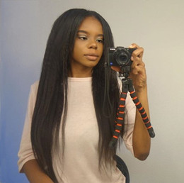 glueless lace wigs for black women NZ - Human Hair Wigs Yaki Straight Peruvian Virgin Hair 130% Density Glueless Full Lace Wigs for Black Women FDSHINE