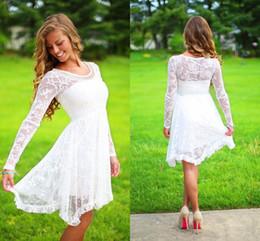 White dress fast shipping online shopping - Long Sleeves Lace Short Wedding Dresses Boho Bridal Dresses Beach Wedding Dress Bohemian Wedding Gowns Cheap Bridal Gowns Fast Shipping