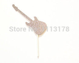 tea party birthday supplies NZ - Glitter Rockstar Guitar Cupcake Toppers Bachelorette wedding bridal Shower birthday tea party treat food picks decoration Party Supplies