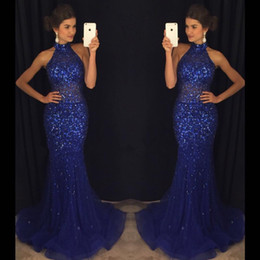 Baile De Fin De Curso Bling Del Azul Real Baratos-Glitz Bling Azul Royal Sequined Beadings Vestidos de noche formal de 2017 Mermaid halter cuello largo Partido Ocasión Vestidos Prom Dresses