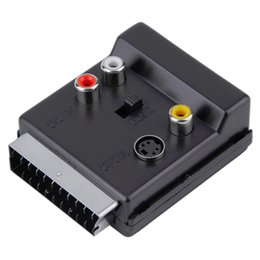 s video rca adapters 2019 - Switchable Scart Male to Female S-Video 3 RCA Audio Adapter Convector free shipping cheap s video rca adapters