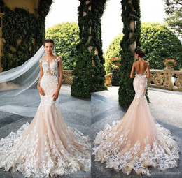 Wedding Dresses 2018 Mermaid Sexy Sheer Neck Cap Sleeve Lace Appliques Bodicese Sweep Train Bridal Gowns