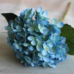 Discount silk hydrangea wedding centerpieces - Artificial Hydrangea Flower 55cm Fake Silk Single Hydrangeas 12 Colors for Wedding Centerpieces Home Party Decorative Fl