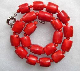 "chunky sterling silver chains NZ - New arrived Wholesale Chunky Red Coral Barrel Bead Necklace 18"" imperfections"