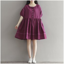 Xl Gril Pas Cher-Robes d'été pour femmes Plus Size Women Clothing Purple Dress Casual Loose Lapel Neck Robe Mori Gril