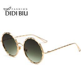 58b4f9fe73 DIDI 2017 Big Round Metal Twisted Sunglasses Women Men Green Lens Circle  Sun Glasses Gradient Shades Uv400 Mirror Eyewear Oculos W753