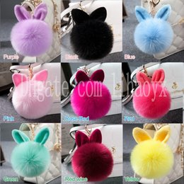 platinum chains for girls 2019 - Mixed colors lovely Rabbit fur ball plush key chain for car key ring Bag Pendant car keychain cheap platinum chains for
