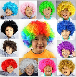 Afro costume online shopping - 15 color Rainbow Afro disco Clown wig caps Child Adult Costume Football Fan Wig Hair Halloween Football Fan Fun wig hats