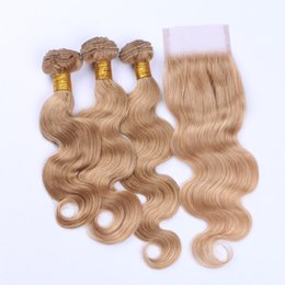 Strawberry blonde color online shopping - Raw Indian Human Hair Bundles With Lace Closure Strawberry Blonde Pure Color Top Closure With Body Wave Hair Bundles