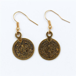 China New Fashion Bohemian Gold silver plated round shape coin earrings Tassel Ear Stud Earrings Fashion Jewelry Earing Accessories Jewellry cheap jewelry earing silver suppliers