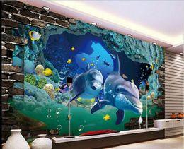 $enCountryForm.capitalKeyWord Canada - 3d wallpaper custom photo non-woven mural Sea world dolphin decoration painting 3d wall murals wallpaper for walls 3 d living room