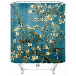 Chinese  Wholesale- 2016 New Fashion Blue Floral Creative Shower Curtain with 12 hooks Waterproof Fabric Bathroom Curtains Bath Accessories manufacturers