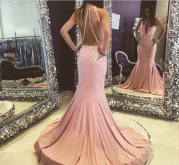Black Evening Dresses For Ladies Australia - Sexy Mermaid Prom Dresses High Neck Beading Formal Party Evening Dresses Amazing Sleeveless Keyhole Back Dress for Lady New Arrival