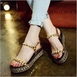 $enCountryForm.capitalKeyWord Canada - Hot sales women sandals 2017 new fashion summer shoes rivet straw braid wedges shoes woman platform sandals