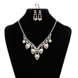 $enCountryForm.capitalKeyWord Australia - Silver Rhinestone Pearl Bridal Jewelry Set Wedding Jewelry Set Tassel Choker Necklace Earrings Women Jewelry Set