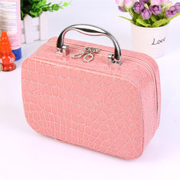 Discount flower cosmetics - Hot 2017 Small Mini Alligator Cosmetic Cases Cute Flower Lady Makeup Bag Women PU Leather Make up Suitcase Crocodile Tot