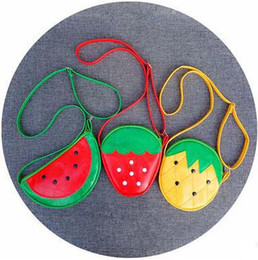 Wholesale Children Shoulder Bags Cute Cartoon Fruit Cross Body Bags Fashion PU Bag Strawberry Pineapple Watermelon Kid s Coin Purse