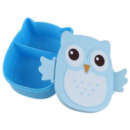 Discount life boxes - Wholesale- Fun Life Bento box Cartoon cute owl Bento Lunch meal box tableware blue
