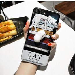 Discount cute soft cat cases - Squishy Cat Phone Case for iPhone Kawaii Cute Soft Silicon TPU Shell Squeeze Squishies Slow Rising Jumbo Fidget Toy Stre