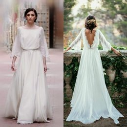 Barato Quadrado Boémio Vestido De Casamento-2017 Fall Country Vestidos de casamento Square Neckline Sweep Train Low Cut Back Marfim Chiffon Bell Sleeves Boho Bohemian Wedding Dresses 1217