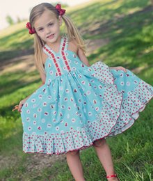 Barato Algodão Azul Lindo-2017 Ins Floral Cute Girl Vestido azul Dot Ruffle Kid Clothing Rose Suspender saia Lovely Cotton Backless Toddler 2-7Y School Party Clothes