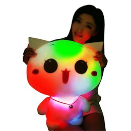 plush toys size 2019 - Wholesale- 50cm LED Glowing Cat Plush Toy Big Size Flashing LED Light Cat Toy Luminous Cute Cat Doll Stuffed Kids Doll B