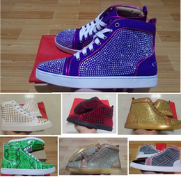 Women Rhinestone Sneakers Canada - Mens Red Bottom Spikes shoes for men and women puple white gold Rhinestone Luxury Brand High Top Spring Autumn Flats Sneakers snake print