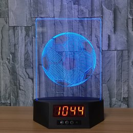 Discount star night light boxes - Football 3D Illusion Clock Lamp Night Light RGB Lights USB Powered 5th Battery IR Remote Dropshipping Retail Box
