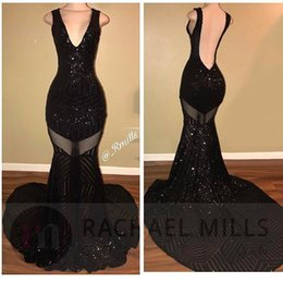 $enCountryForm.capitalKeyWord Canada - Real Image Long Prom Dresses V Neck Sequins Fitted Open Back Mermaid Floor Length Tulle Formal Party Evening Gowns BA5183
