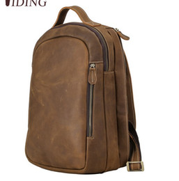 Double layer belt online shopping - Top end Leather Backpack Men vintage personal traveling Lugguage First layer crazy horse leather double shoulde belt factory prices