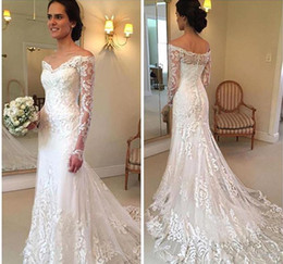 $enCountryForm.capitalKeyWord Australia - New Arrival Lace Sweep Train Gorgeous 2017 Mermaid Wedding Dresses Off-Shoulder Long sleeve Full Appliques covered button wedding dresses