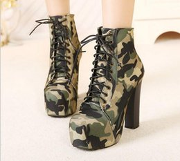 $enCountryForm.capitalKeyWord Canada - Easy Fashion High Heel Boots European Camouflage Canvas Army Boots Lace Up Girls Super High Heel Pumps Woman Fashion Autumn Shoes C085