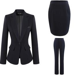 Dark Blue Coat Pant UK - Fashion Women Dress Suits Office Lady Work Dress OL Skirt Pants with Formal Coat S-4XL Black Gray Dark Blue Free Shipping