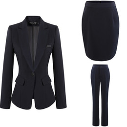 Wholesale Fashion Women Dress Suits Office Lady Work Dress OL Skirt Pants with Formal Coat S XL Black Gray Dark Blue