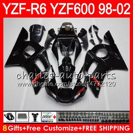 Yamaha Yzf r6 99 online shopping - 8Gifts Color For YAMAHA YZF600 YZFR6 YZF R600 HM1 gloss black YZF YZF R6 YZF R6 Fairing kit