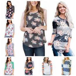 $enCountryForm.capitalKeyWord Australia - T Shirts Fashion Floral Tops Women Stripe Print Shirts 3 4 Sleeve Casual Blouse Sexy Slim Blusas Flowers Camo Tees Women's Clothing B3077