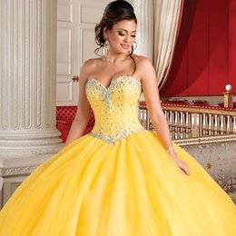 Habille-toi Pour Doux 16 Jaune Pas Cher-Gorgeous Princess Yellow Quinceanera Robes Beaded Crystal Ball Vestiments 2017 Nouvelle Arrivée Sweet 16 Dress vestidos de 15 anos Cheap Debutante