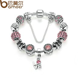 $enCountryForm.capitalKeyWord NZ - Pandora Style Silver Color European Pink Zircon Friendship Bracelet for Women with Butterfly Beads LOVE Pendant & Safety Chain