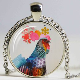 $enCountryForm.capitalKeyWord Canada - Wholesale Colorful Cock Art Glass Cabochon Chain Chicken Pattern Necklace Silver Plated Animal Pendant Woman Jewelry Gift DIY