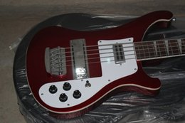 Chinese  Super Rare 5 Strings Bass Ricken 4003 Fire glo Metallic Red Electric Bass Guitar Chrome Hardware White Pearloid Triangle Fingerboard Inlay manufacturers