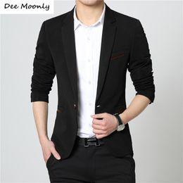 korean fitted dress 2019 - Wholesale- DEE MOONLY 2017 Mens Korean Slim Fit Fashion Blazer Suit Jacket Black Blue Khaqi M To 4XL Male Dress Blazers